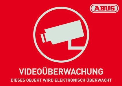 Warnaufkleber Videoüberwachung mit ABUS Logo 148 x 105 mm