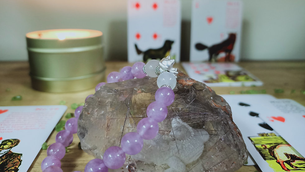 9 tailed fox charm with Lavender Amethyst.