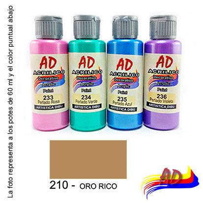 Acrílico AD x 60 ml metálicos y perlados 210 oro rico