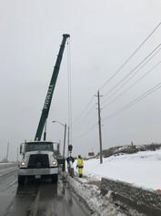 Temporary construction bins - winter flatbed crane