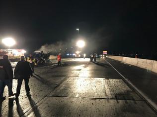 Emergency construction highway night photo