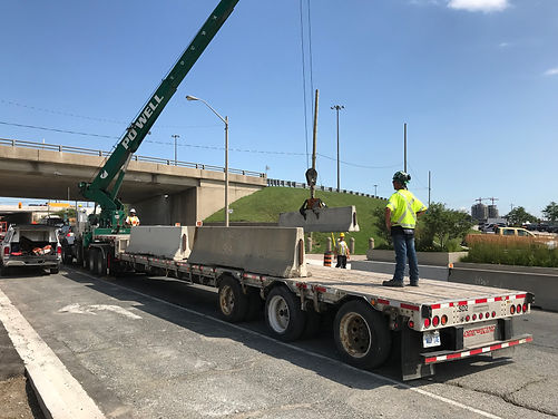 Temporary Construction Barrier Flatbed Truck