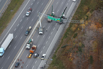 Emergency construction highway high angle photo