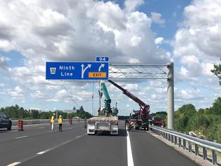 Overhead signs - crane work