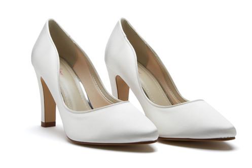 b769d514808 Ebony - Block Heel Ivory Satin Bridal Court Shoes - pair
