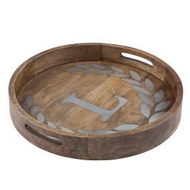 "WOOD/METAL 20"" ROUND TRAY ""L"""