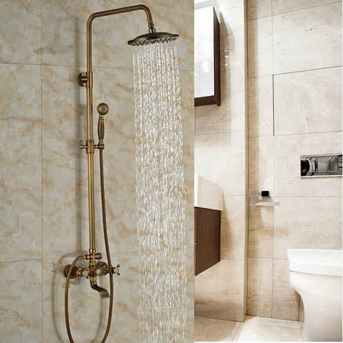ROBBI Antique Brass Rain Shower Faucet Set | Canada Faucet Outlet ...