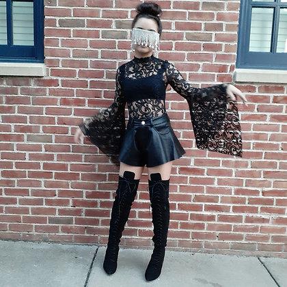 Lace Sheer Vampire Wide Sleeve Bodysuit