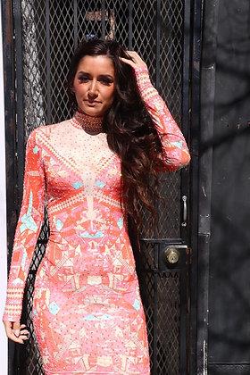 Long Sleeve Embellished Bodycon Print Dress