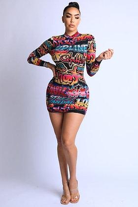 Graffiti Bodycon Long Sleeve Dress