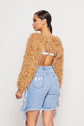 Super Crop Fluffy Couture Shag Sweater