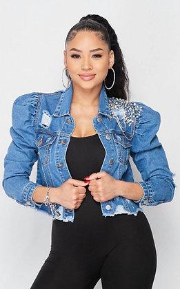 Embellished Punk Ruched Puff Diamond Jean Jacket