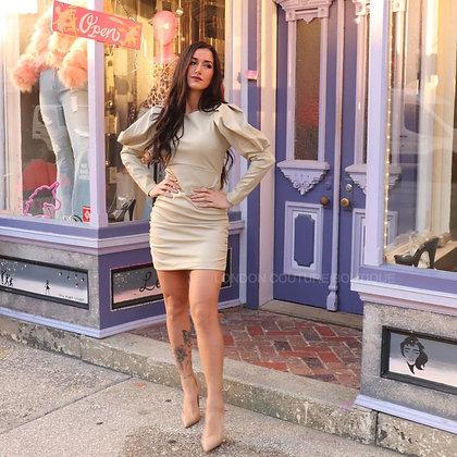 Nude Bodycon Balloon Sleeve Pleather Leather Dress
