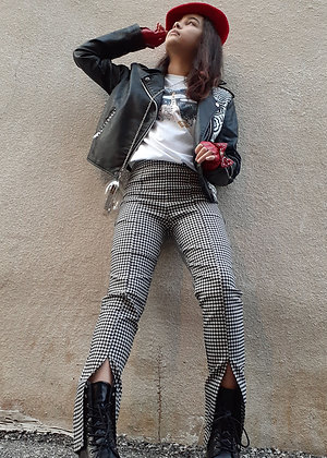 Black & White Checked Checker Pants with Slit
