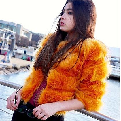 Faux Fur Mustard Strip 3/4 Sleeve Winter Coat