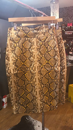 Snake Skin Body Con Pleather Skirt