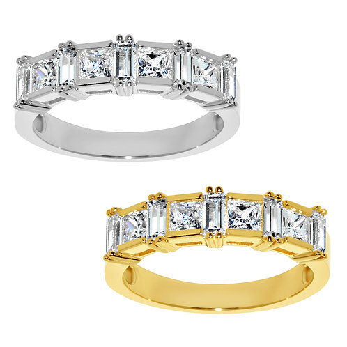 14k Yellow or White Gold 7/8ct TGW Princess-cut Diamonette Wedding Band
