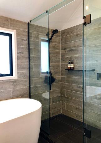 Eyecatching grey woodgrain tiles