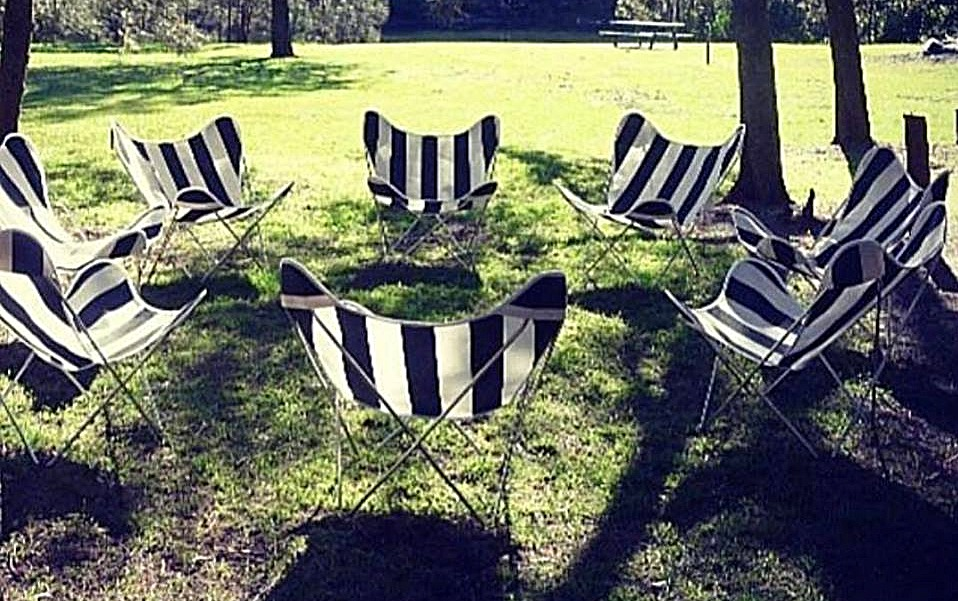 B&W Stripe Butterfly Chairs