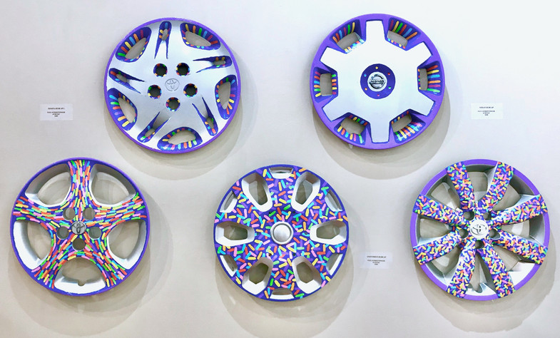 5 Painted Hubcaps