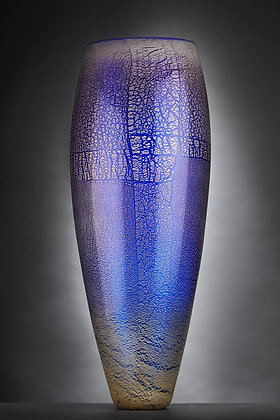 Cobalt and Silver Tall Vase