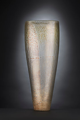 Ivory and Silver Tall Vase