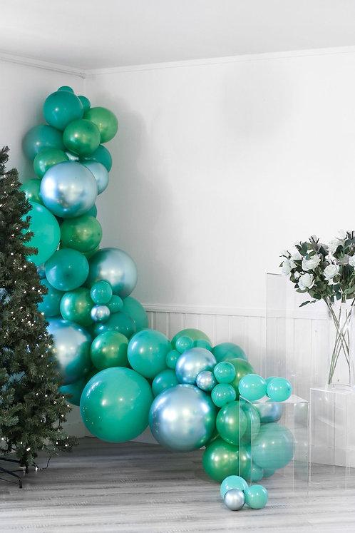Ballong Girlander 3 m - Turkis/Grønn/Sølv