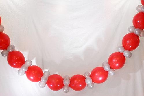 Ballong Girlander 3 m - Rød/Sølv