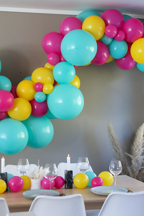 Ballong Girlander 3 m - Turkis/Gul/Rosa