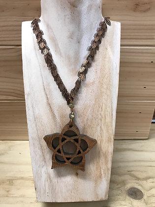Antique copper leaf chain with Labradorite gems and wooden pentagram leader