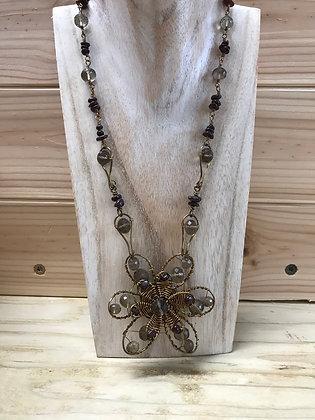 Smoky Quartz & Garnet bold necklace