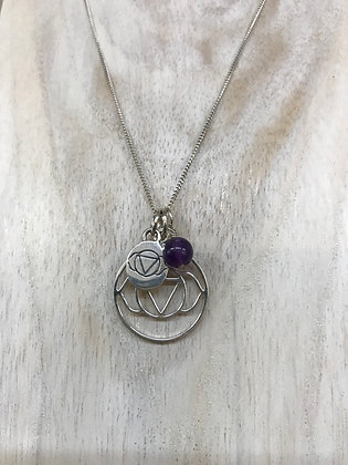 Chakra necklace third eye with amethyst sterling silver chain