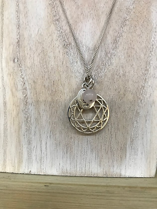 Chakra necklace heart with rose quartz