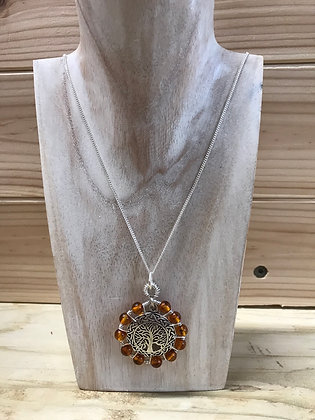 Baltic Amber with silver tree of life inlay with silver chain
