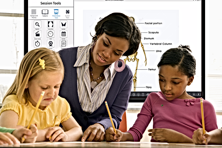 Teacher using Interactive Touchscreen with students in the classroom