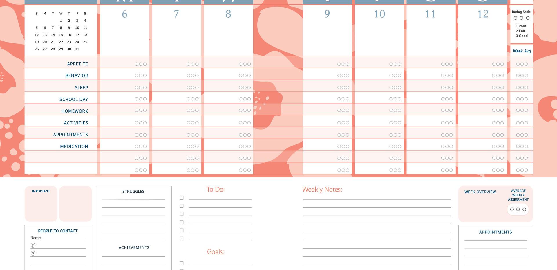 Weekly Planner Symptom Tracker