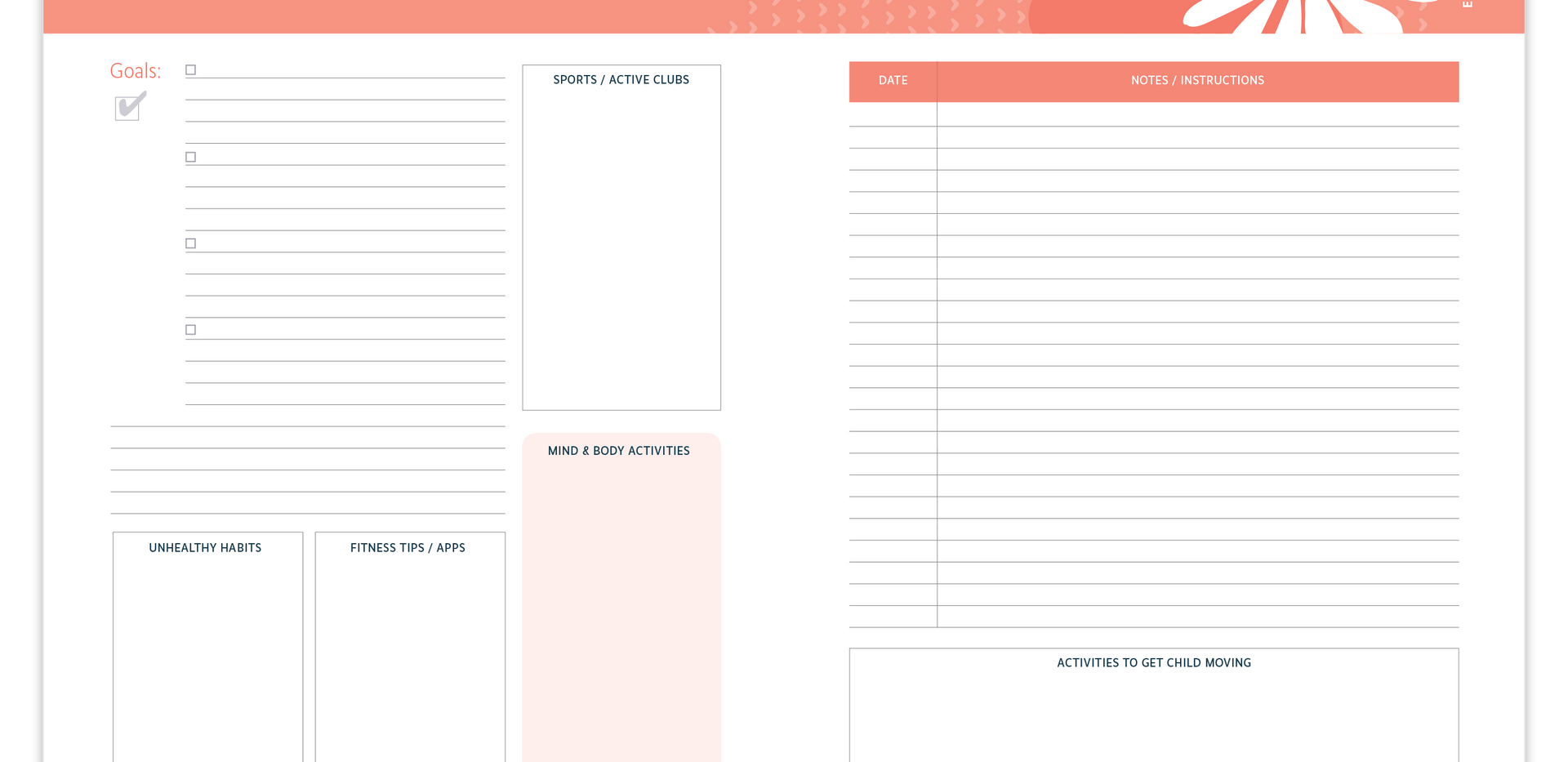 Fitness and Exercise Information Organizer for your child