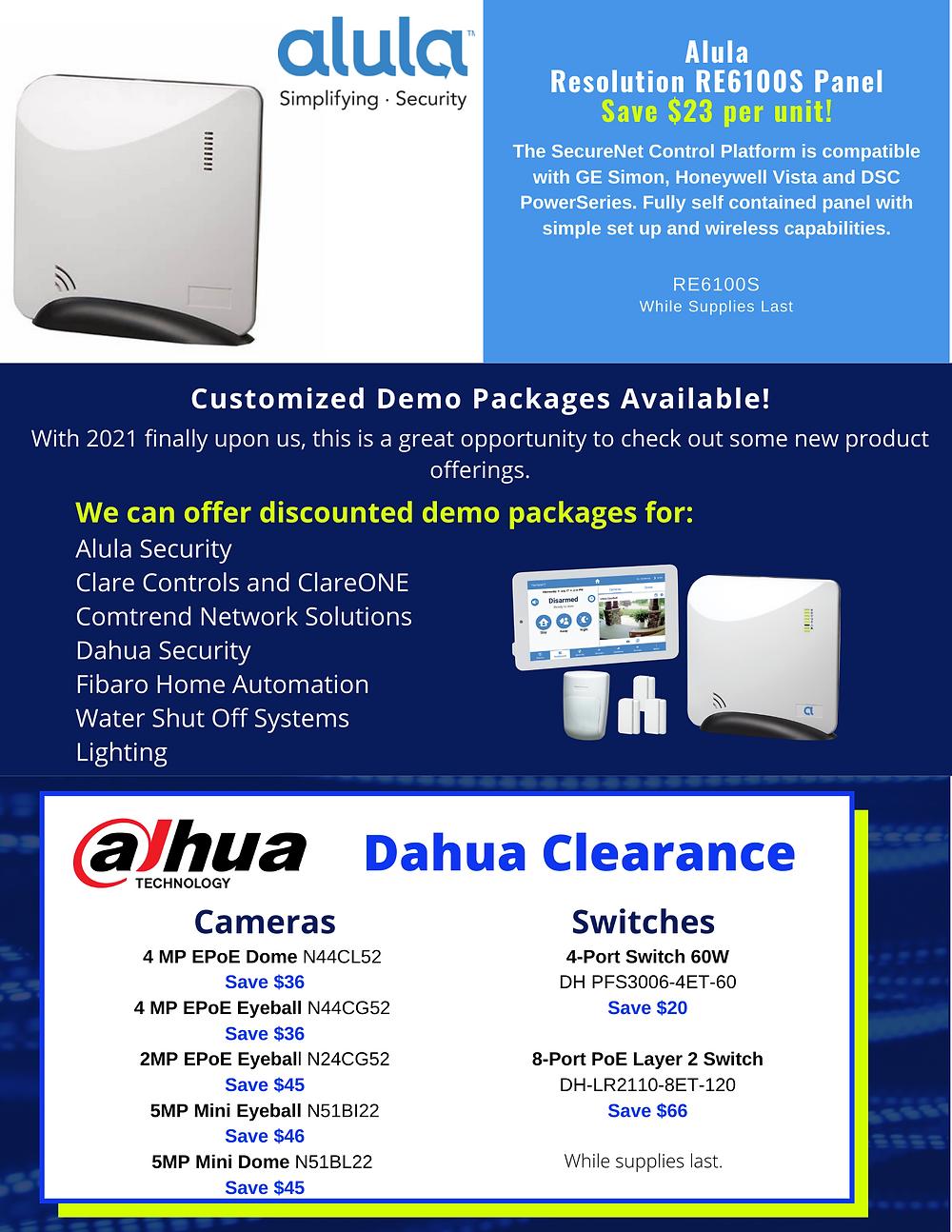 Alula, Demo Kits, Dahua, Clare Controls, Comtrend, Fibaro, Guardian, LED Lighting