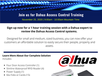 Join us for 1-hour Dahua Access Control Training!
