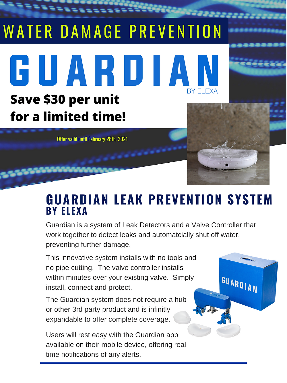 guardian, leak prevention, leak detector, water shut-off