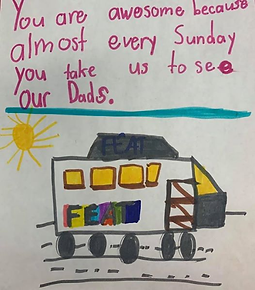 Drawing by kids in the Visitation Program at Kids with Incarcerated Parents (KIP) Canada