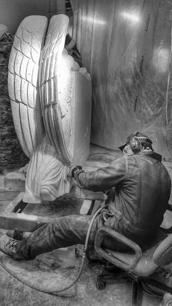 Sculpting the Bogar Angel - Bethel White Granite