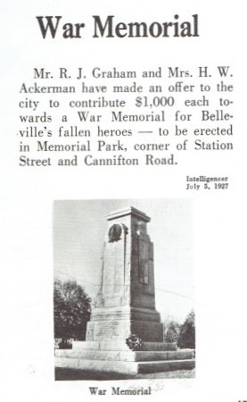 War Memorial - Belleville Cenotaph