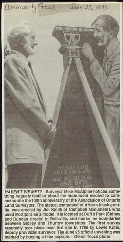 Community Press: June 25, 1992: Surveyors Monument