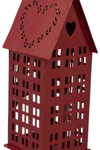Casetta portacandela rossa con cuore bassa