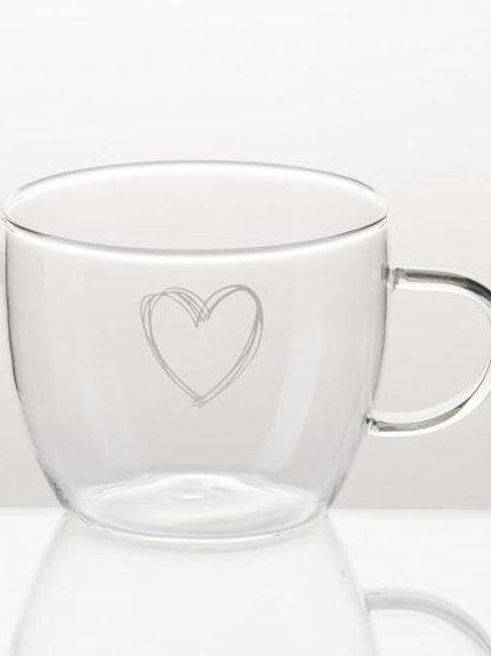 Tazza latte grande in vetro borosilicato