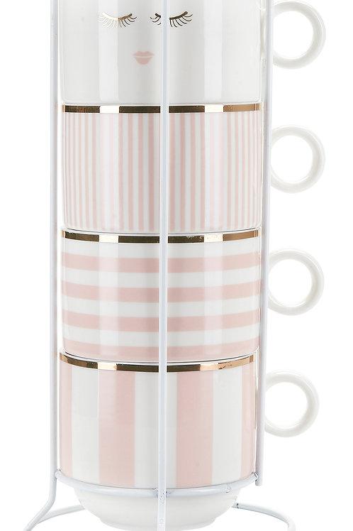 Tazze da colazione Pink in rack