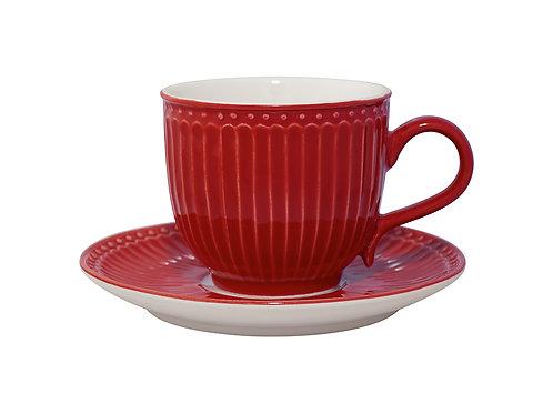 Tazza con piattino Alice rosso