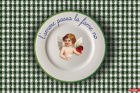"""Tovaglietta """"L'AMORE PASSA LA FAME NO"""""""