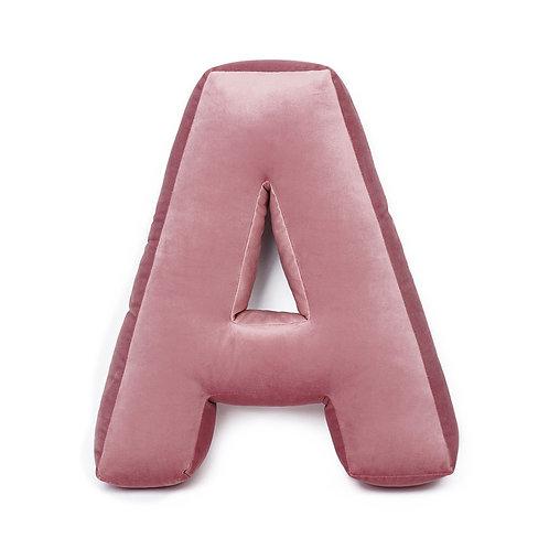 Cuscino Lettera in Velluto Rosa Antico
